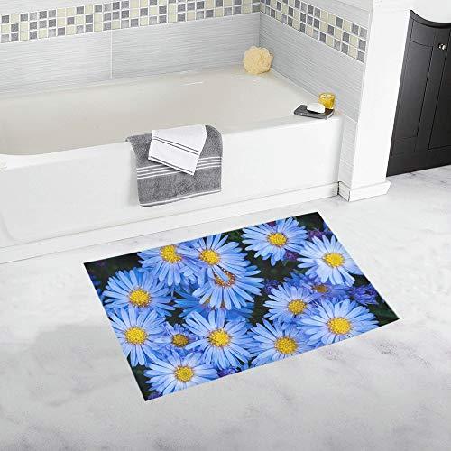 Flowers Asters Blue Blue Flower Garden Custom Non-Slip Bath Mat Rug Bath Doormat Floor Rug for Bathroom 20 X 32 Inch