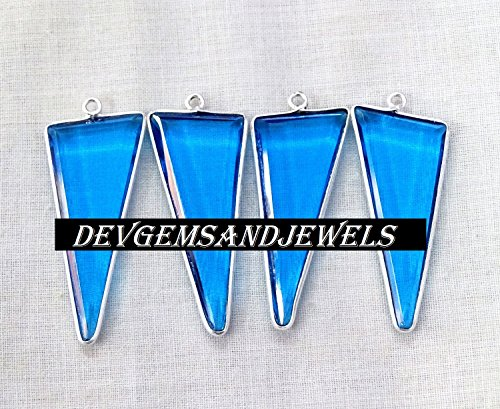 (4 Pcs Lot Swiss Blue Topaz Hydro Faceted Long Triangle Bezel Silver Plated Single Bail Pendant.)