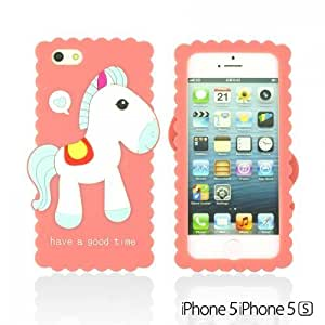Horse Style 3D Soft Silicone Case forDiy For Touch 5 Case Cover Pink
