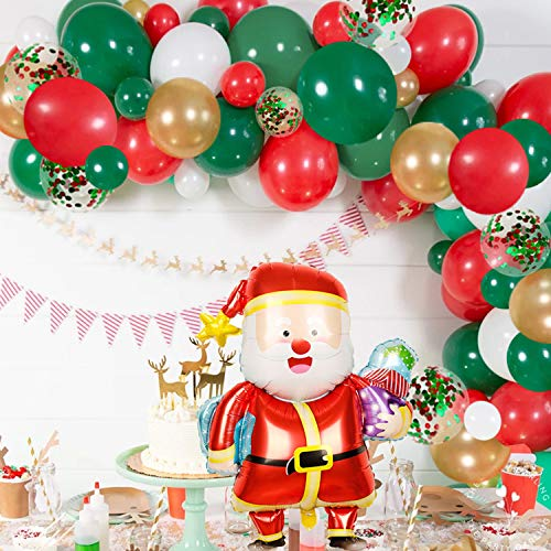 Merry Christmas Balloon Arch Garland Kit - 115 Pieces Green Red White Gold Confetti Balloons with Santa Claus Mylar Balloon for Christmas Party Decorations New Year Baby Shower Birthday Party Supplies
