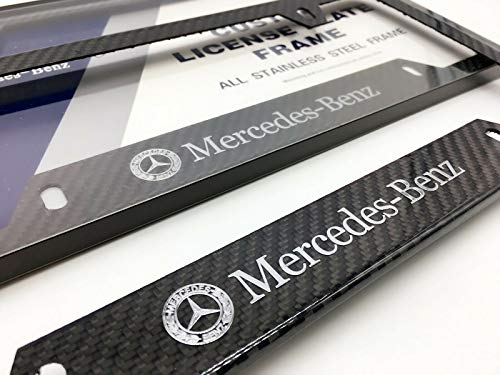 Car Accessory Warehouse Mercedes-Benz MB Silver Logo Emblem Mercedes Benz Mercedes-AMG AMG Full Carbon Fiber License Plate Frame Gloss Finish CF Carbon Weave