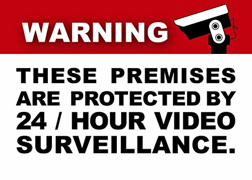 ((6 Pack) 3.5 X 2.5 Self Adhesive Home Business Security DVR Camera Video Surveillance System Window Door Warning Alert Sticker Decals. For indoor / outdoor use)
