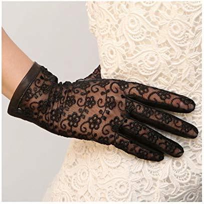 手袋 日常 実用 春と夏の女性革手袋は単一の革タッチスクリーン手袋へのすべての参照をひもで締めます (Color : GrayTouch screen, Size : S)