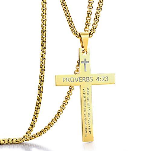 (ADoor Stainless Steel Cross Pendant Necklaces for Men or Women Bible Verse Pendant Chain 24 Inch)