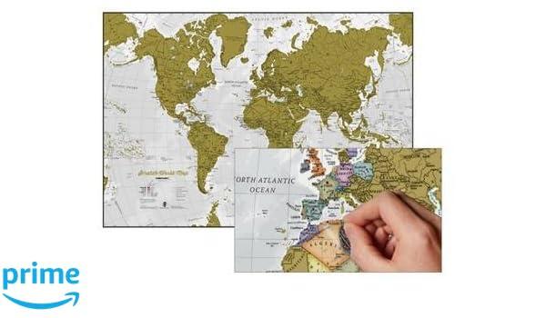 Rasca en mundo mapa mural en INGLÉS, 84x59 cm. Scratch World. Maps ...