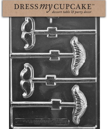 Dress My Cupcake Chocolate Candy Mold, Vintage Mustache Assortment Lollipop