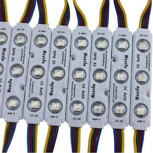 Rextin 200pcs 12V 5050 SMD 3 LED Module RGB Color Changing Waterproof Light Lamp 3 years warranty for home garden xmas wedding party decoration or letter design (RGB injection)
