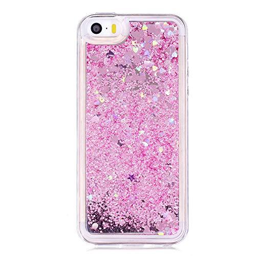 iPhone 5G 5S SE Glitter Case, FOLICE Mirror Liquid Glitter Case, Flowing Liquid Floating Luxury Bling Glitter Sparkle Fashion Creative 2 in 1 Mirror & Liquid Case for Apple iPhone 5G 5S SE (Pink)