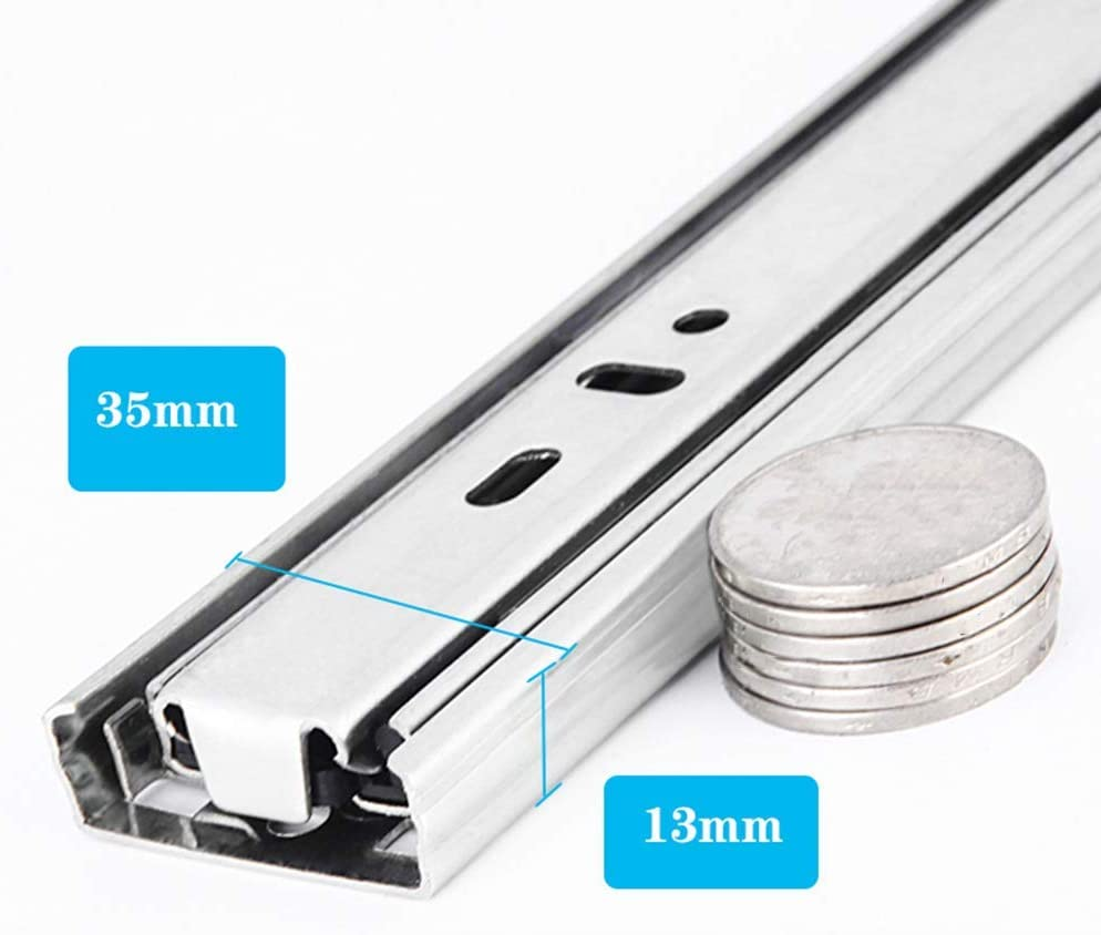 Steel Ball Bearing//Soft-close Drawer Runners LXESWM Push to Open Drawer Runner Drawer Slide Three-stage Full Extension Carrying 60kg Size : 240mm 10in Side Mounted