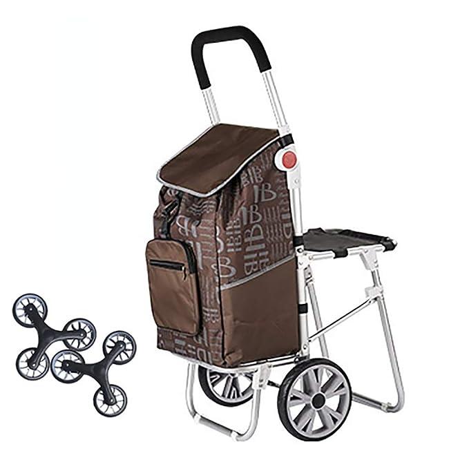 SH-gwtc Carretilla de Compras Plegable Escalera de Compras Remolque portátil para Viajes Carrito de Equipaje para el hogar Carrito de Compras (Color : A): ...