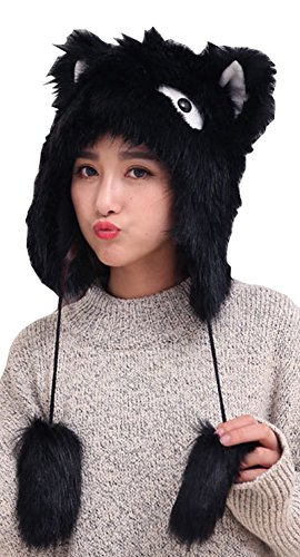 Bomber Hat Earflap Cap Winter Fur Hat Slouchy Beanie Fox Style Hat for Women