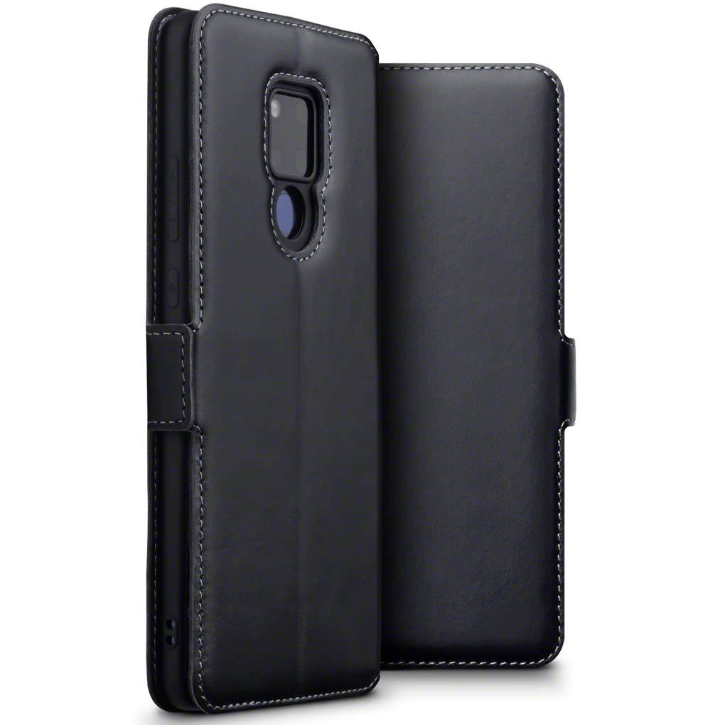TERRAPIN Funda Huawei Mate 20 X Cartera de auténtico Cuero, Adaptable en posicion Horizontal - Negro