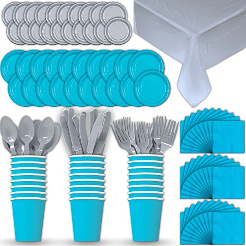 - Paper Tableware Set for 24 - Turquoise & Silver - Dinner and Dessert Plates, Cups, Napkins, Cutlery (Spoons, Forks, Knives), and Tablecloths - Full Two-Tone Party Supplies Pack