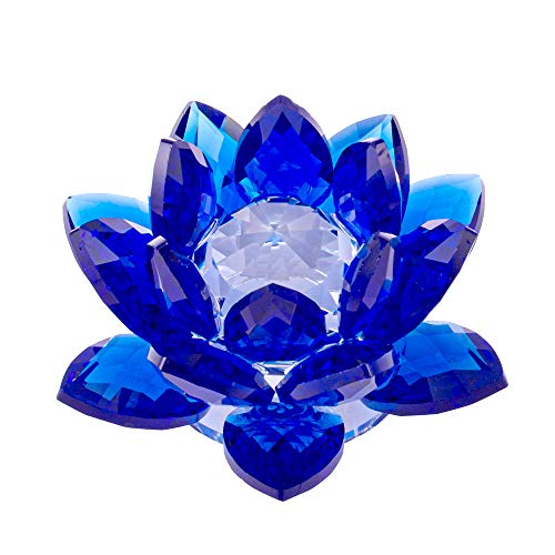 Amlong Crystal 3 Inch Sapphire Blue Crystal Lotus Flower Feng Shui Home Decor with Gift Box (Christmas Figurines Crystal)