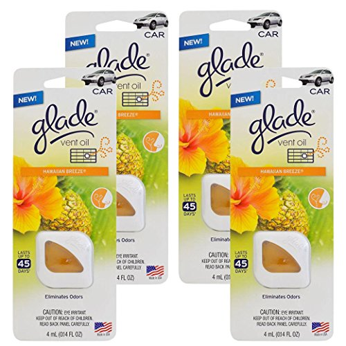(Ship from USA) Glade Vent Oil Car AC & Home Air Freshener Eliminate Odors, Hawaiian Breeze -4PK *JPOU842H5ET111997 by Usongs Trading INC