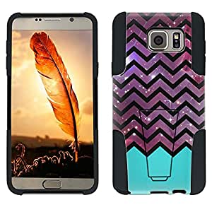 Samsung Galaxy Note 5 Hybrid Case Nebula on Chevron Black White Turquoise Ribon 2 Piece Style Silicone Case Cover with Stand for Samsung Galaxy Note 5