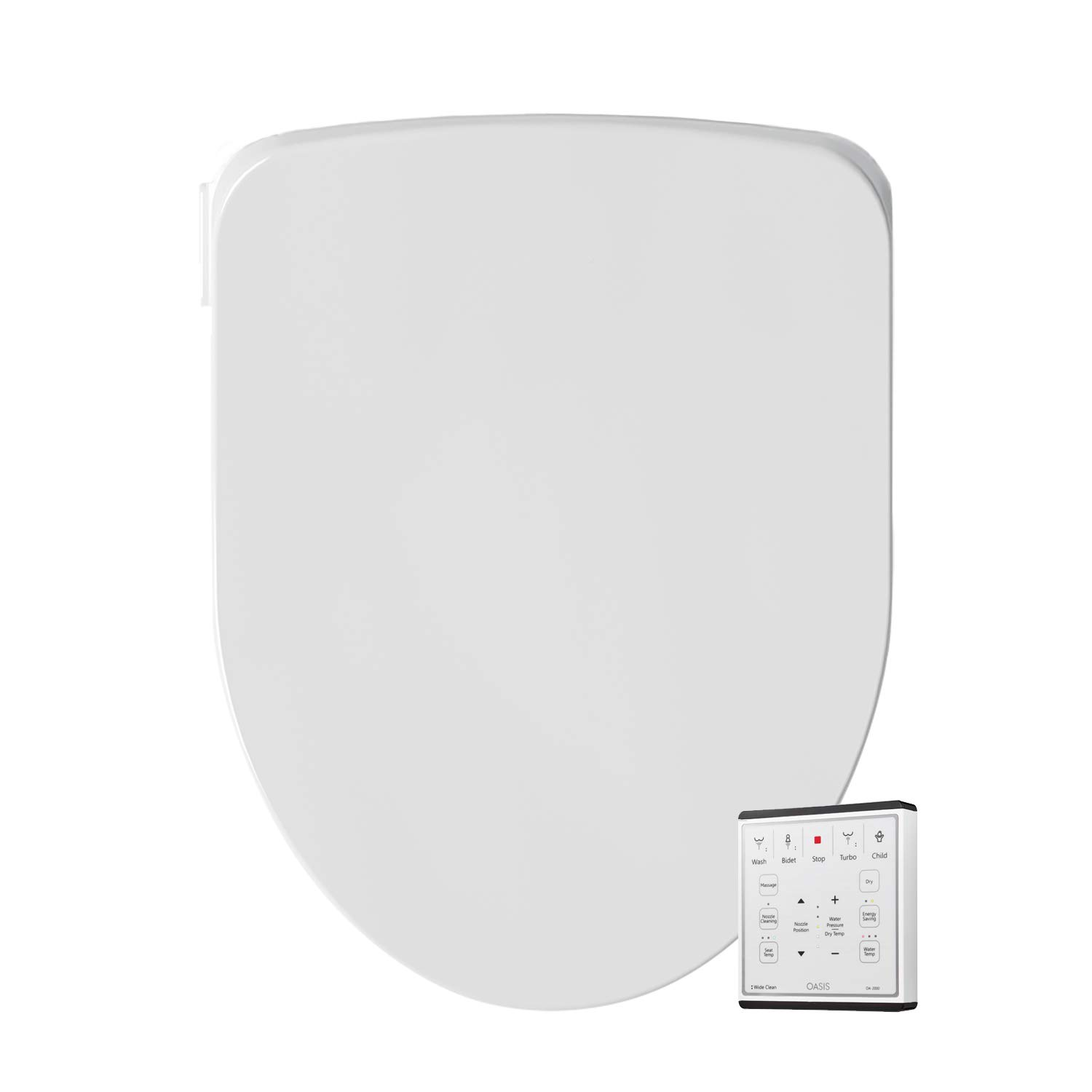 Oscillating and Fusion Warm Water Technology with Wireless Remote Turbo Wash Oasis by Bio Bidet Bidet Smart Toilet Seat in Round White with Stainless Steel Self-Cleaning Nozzle Nightlight
