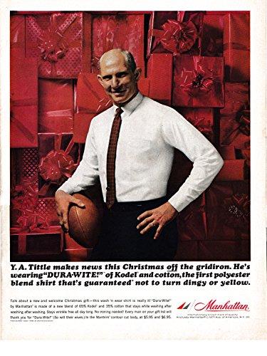 New York Giants Denim - 1964 YA Tittle New York Giants-Manhattan Shirts-Original 13.5 * 10.5 Magazine Ad