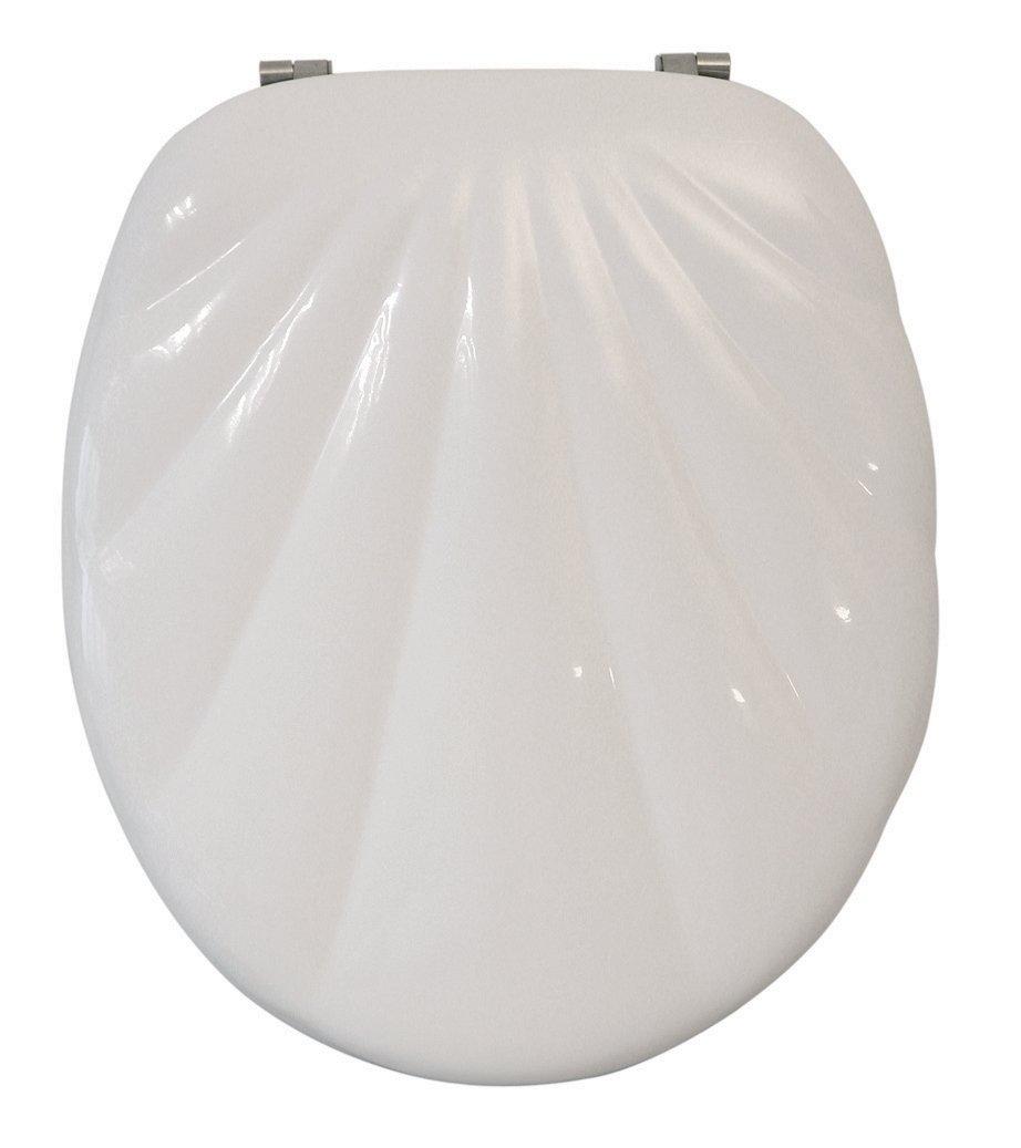 wc sitz muschel ancona ii wei toilettensitz wc brille aus holz ebay. Black Bedroom Furniture Sets. Home Design Ideas