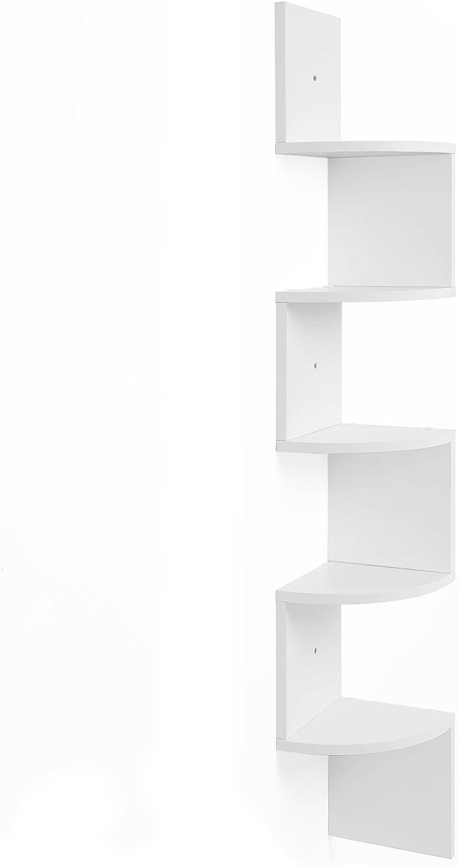 VASAGLE Estantería para Esquina, Estantería Colgante de 5 Niveles, Estantería de Pared con Diseño en Zigzag, Estantería para Libros, Blanco LBC20WT