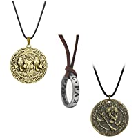 XCFS 3PCS One Set Uncharted 4 Merchandise Necklace Set Nathan Drake Engraved Ring Drake's Bronze Ancient gold coin A…