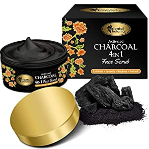 Oriental Botanics Activated Charcoal 4 In 1 Face Scrub 100g | Exfoliate, Detoxify, Brighten & Refresh