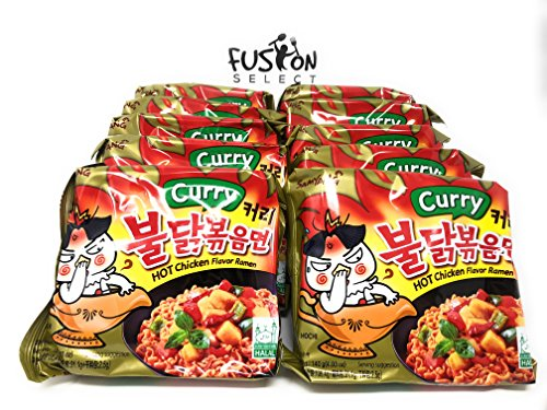 (Fusion Select Samyang Hot chicken Curry flavor ramen Halah 4.93 oz (140g) x10)