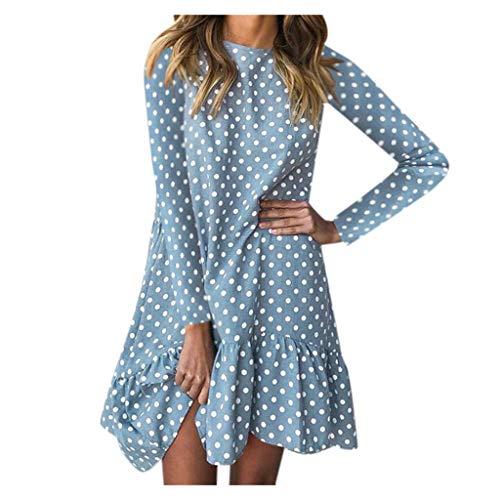 DONTAL Women Boho Polka Dot High Waist Flounce Vintage Mini Dresses Paty Ruffle Hem Dress ()
