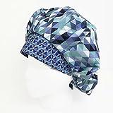 Bouffant Scrub Hat Blue Geometric OR Hats