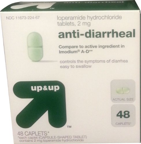 Loperamide Hydrochloride Tablets, 2mg, Anti-Diarrheal, 48 Caplets, By Up&Up, Compare to Imodium A-D