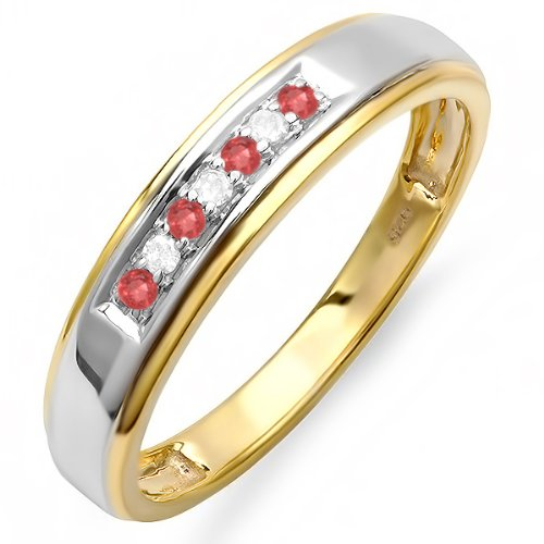 18K-Yellow-Gold-Plated-Sterling-Silver-Round-White-Diamond-And-Ruby-Mens-Seven-Stone-Wedding-Band