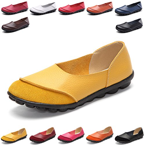 Hishoes Women's Leather Loafers & Slip-Ons Flats Driving Walking Casual Moccasins Soft Sole Shoes ()