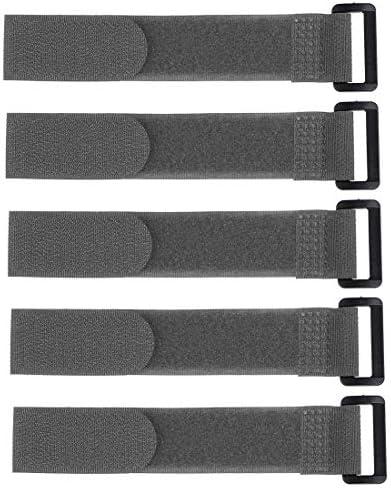 uxcell フックとループのストラップ 25mm x 200mmストラップ固定 再利用可能な固定ケーブルタイ(グレー)5個