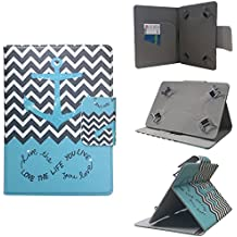 """ezCASE - Verizon Ellipsis Chevron Anchor Green Universal Folio Faux Leather Protector Case Cover for 7"""" inch Tablets, Multi-angle Stand, Card, Cash, Passport Slots - Fits most Tablets"""