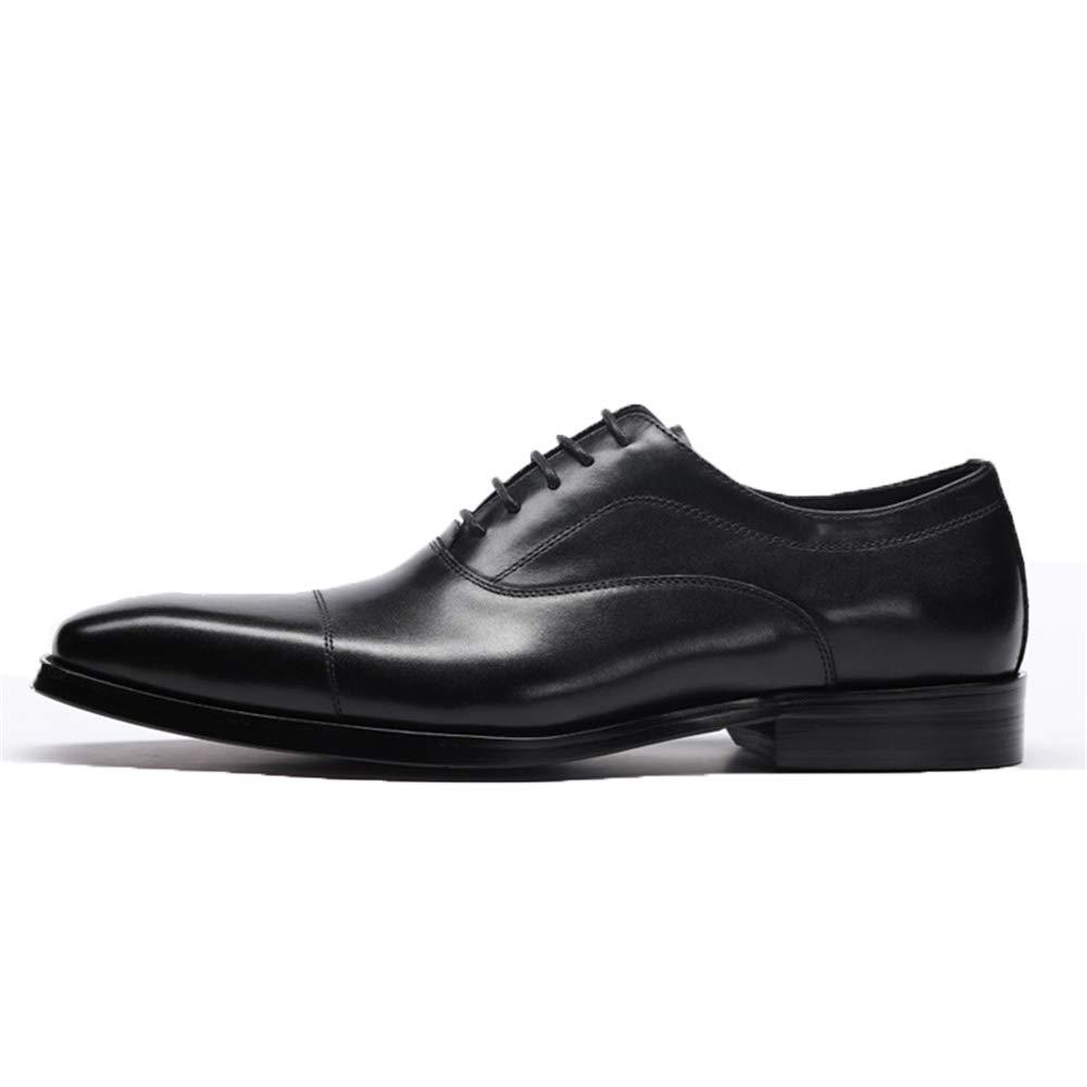 Ywqwdae Herren DREI Zeilen Leder Schuhe aus Rindsleder geschliffen Formal Sohle EU 39 Schwarz