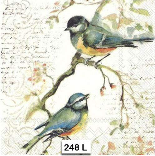 Two Individual Paper Luncheon Decoupage Napkins Birds Autumn Collage 248