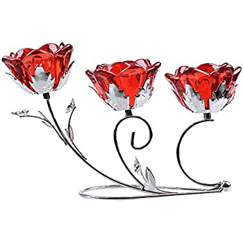 LONGWIN Rose Blossom 3-tealight Candle Holders Wedding Centerpieces Ruby