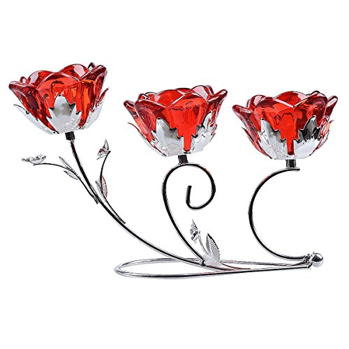 LONGWIN Rose Blossom 3-tealight Candle Holders Wedding Centerpieces Ruby (Three Blossom Light)