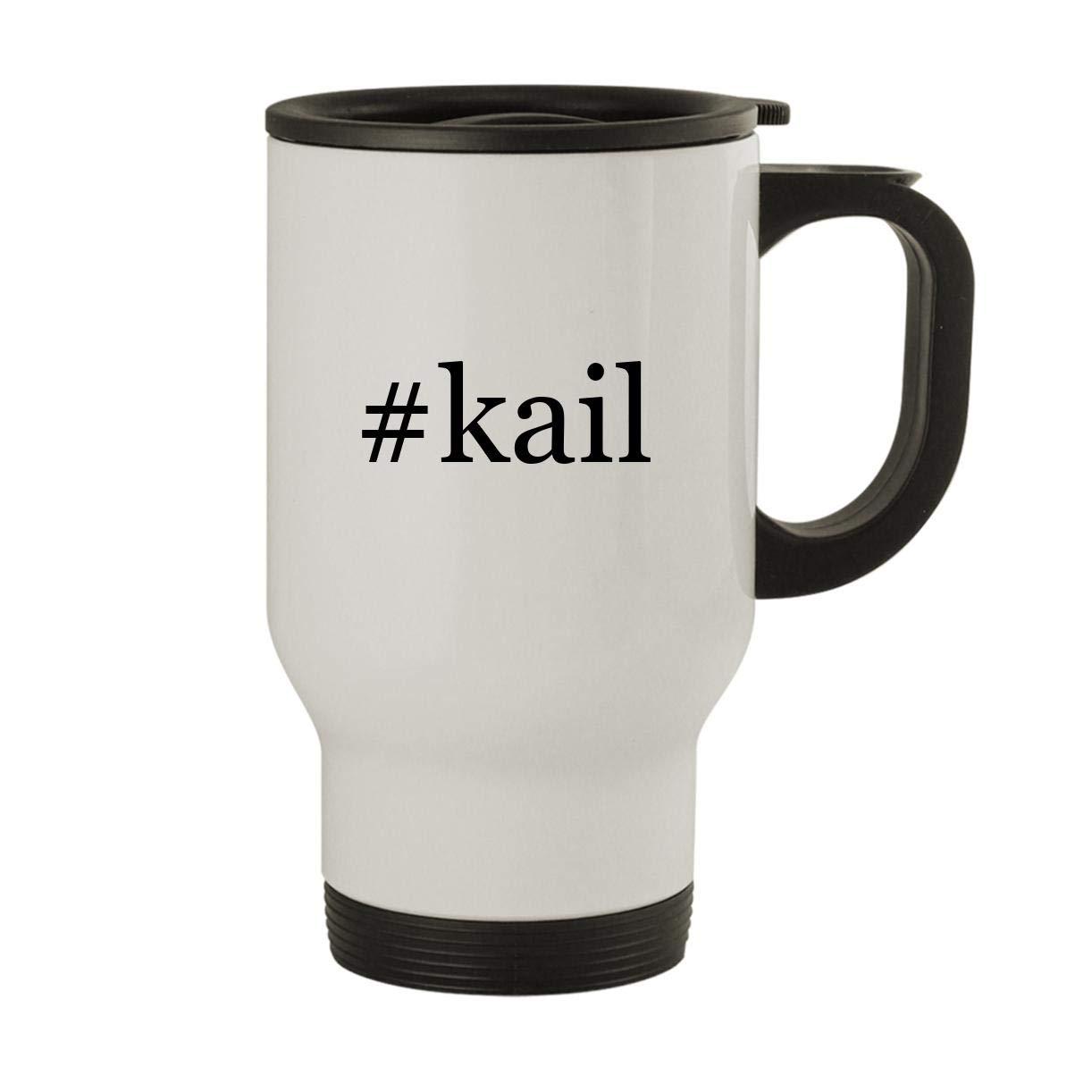 #kail - Stainless Steel Hashtag 14oz Travel Mug, White