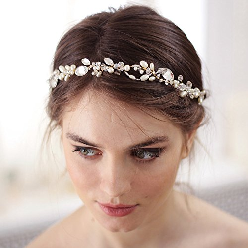 (Kercisbeauty Handmade Bridal Bridesmaids Double Chain Headband Vine Spring Headband Headpiece Hair Vine Bridal Accessories Super Flash Party Accessories (Rose Gold))