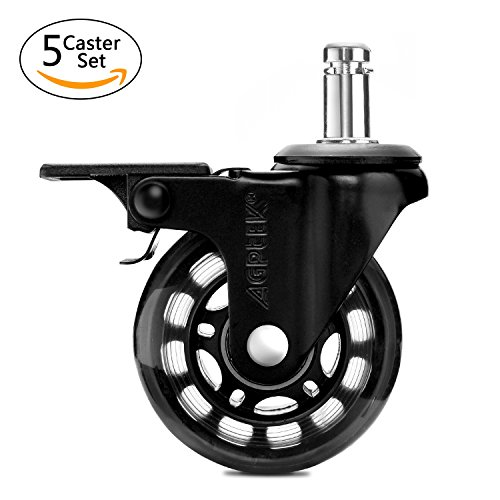 AGPTEK Office Chair Casters Heavy Duty with Screwdriver, Safe Roller Wheel Replacement for Hardwood Floors Mat Carpet Tile - Set of 5 All with Brake System by AGPTEK