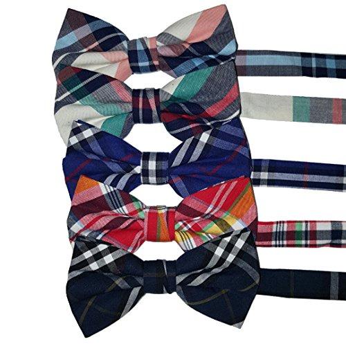 Ravenhill Premium Adjustable Neck Tie Bowties 5-pack (Plaid) (medium, Plaid)