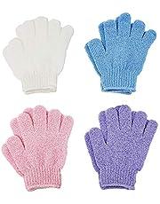 4 Pairs Exfoliating Gloves, Body Scrub Wash Mitts for Bath Shower, Luxury Spa Exfoliation Accessories for Men Women