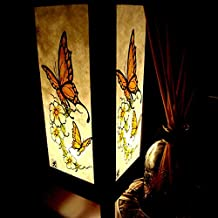 Colorful Butterfly & Flower Handmade Asian Oriental Wood Light Night Lamp Shade Table Desk Art Gift Home Vintage Bedroom Bedside Garden Living Room; Free Adapter; Canada Plug Only #183