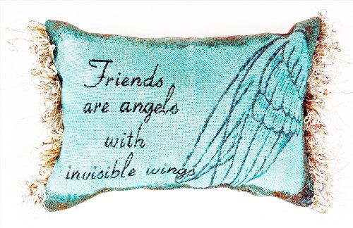 Manual 12.5 x 8.5-Inch Decorative Embroidered Word Pillow with Fringe, Friends are Angels (Friend Pillow)