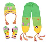 Kidorable Green/Yellow Soft Acrylic Fairy Hat/Scarf/Mitten Set for Girls w/Fun Fairy Wings, Ages 6-8