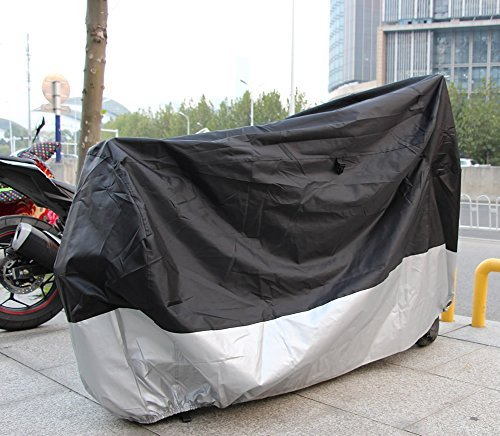 """FelizCoche 210D Motorcycle Cover Oxford Fabric All Whether Waterproof UV Protective Breathable Full Size Motorcycle Cover, Black Silver (For 86"""" to 94"""" length motorcycle)"""