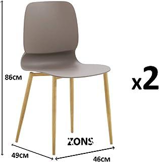 MAZ - Set di 2 sedie in metallo con seduta in PP, colore: Tortora
