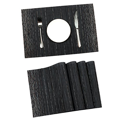 Pauwer Placemats for Dining Table Heat resistant Stain Resistant Washable PVC Placemats Set of 8 Kitchen Table Place Mats Woven Vinyl Placemats (Black, Set of 8)