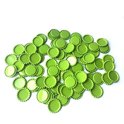 HAWORTHS 100 PCS Flat Decorative Bottle CaP Craft Bottle Stickers Double Sideds Printed for Hair Bows, DIY Pendants or Craft ScraPbooks Lime Green ()
